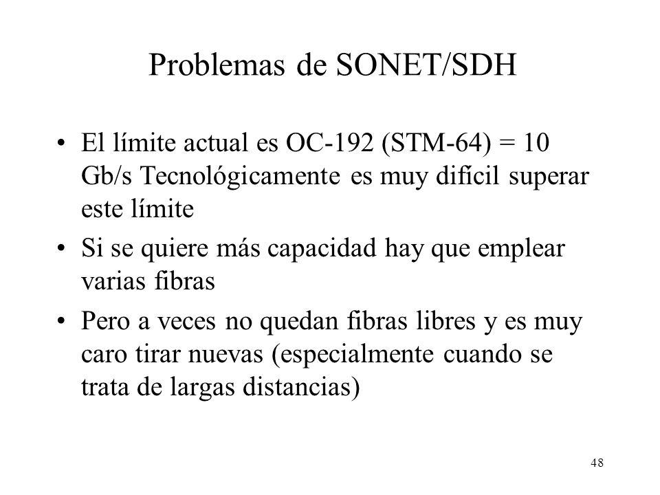 48 Problemas de SONET/SDH El límite actual es OC-192 (STM-64) = 10 Gb/s Tecnológicamente es muy difícil superar este límite Si se quiere más capacidad hay que emplear varias fibras Pero a veces no quedan fibras libres y es muy caro tirar nuevas (especialmente cuando se trata de largas distancias)