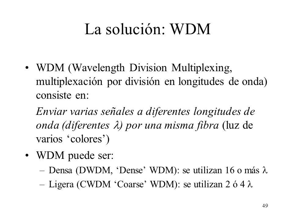 49 WDM (Wavelength Division Multiplexing, multiplexación por división en longitudes de onda) consiste en: Enviar varias señales a diferentes longitudes de onda (diferentes ) por una misma fibra (luz de varios colores) WDM puede ser: –Densa (DWDM, Dense WDM): se utilizan 16 o más –Ligera (CWDM Coarse WDM): se utilizan 2 ó 4 La solución: WDM