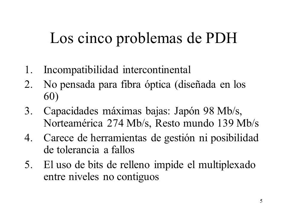5 Los cinco problemas de PDH 1.Incompatibilidad intercontinental 2.No pensada para fibra óptica (diseñada en los 60) 3.Capacidades máximas bajas: Japón 98 Mb/s, Norteamérica 274 Mb/s, Resto mundo 139 Mb/s 4.Carece de herramientas de gestión ni posibilidad de tolerancia a fallos 5.El uso de bits de relleno impide el multiplexado entre niveles no contiguos