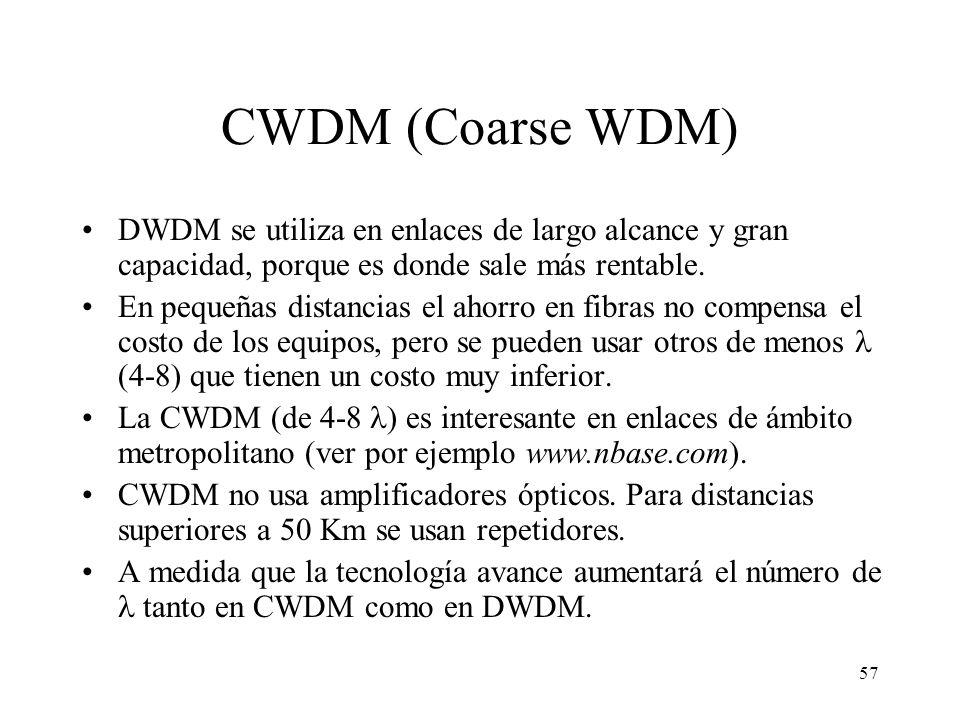 57 CWDM (Coarse WDM) DWDM se utiliza en enlaces de largo alcance y gran capacidad, porque es donde sale más rentable. En pequeñas distancias el ahorro