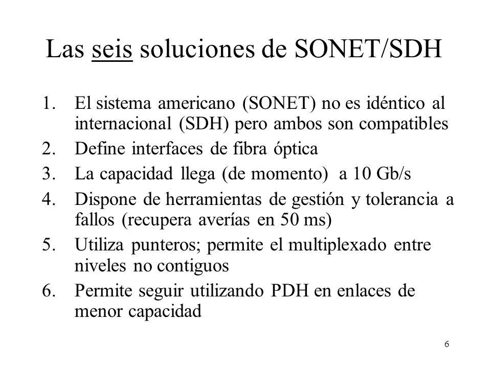 6 Las seis soluciones de SONET/SDH 1.El sistema americano (SONET) no es idéntico al internacional (SDH) pero ambos son compatibles 2.Define interfaces de fibra óptica 3.La capacidad llega (de momento) a 10 Gb/s 4.Dispone de herramientas de gestión y tolerancia a fallos (recupera averías en 50 ms) 5.Utiliza punteros; permite el multiplexado entre niveles no contiguos 6.Permite seguir utilizando PDH en enlaces de menor capacidad