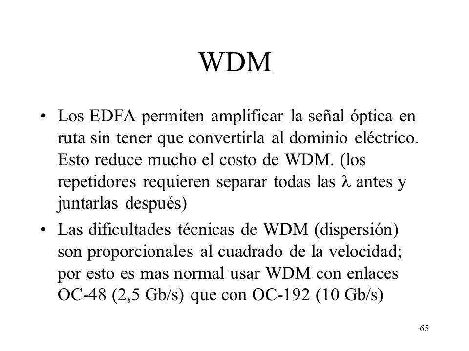 65 WDM Los EDFA permiten amplificar la señal óptica en ruta sin tener que convertirla al dominio eléctrico. Esto reduce mucho el costo de WDM. (los re