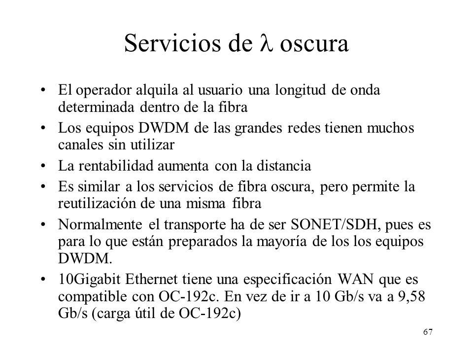 67 Servicios de oscura El operador alquila al usuario una longitud de onda determinada dentro de la fibra Los equipos DWDM de las grandes redes tienen