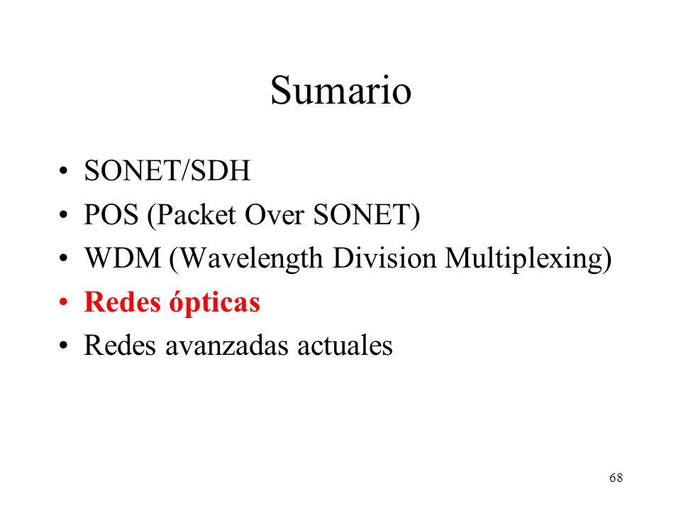 68 Sumario SONET/SDH POS (Packet Over SONET) WDM (Wavelength Division Multiplexing) Redes ópticas Redes avanzadas actuales