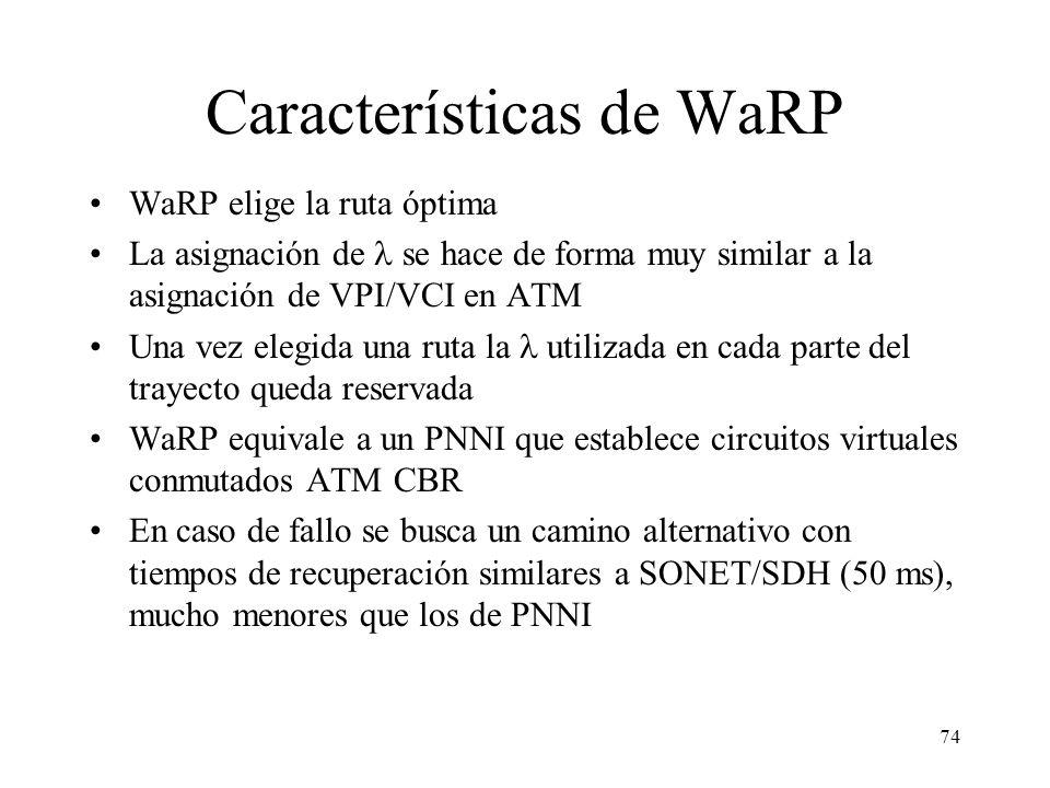 74 Características de WaRP WaRP elige la ruta óptima La asignación de se hace de forma muy similar a la asignación de VPI/VCI en ATM Una vez elegida una ruta la utilizada en cada parte del trayecto queda reservada WaRP equivale a un PNNI que establece circuitos virtuales conmutados ATM CBR En caso de fallo se busca un camino alternativo con tiempos de recuperación similares a SONET/SDH (50 ms), mucho menores que los de PNNI