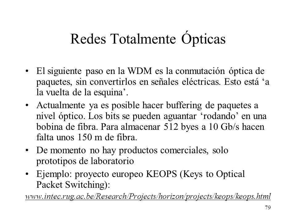 79 Redes Totalmente Ópticas El siguiente paso en la WDM es la conmutación óptica de paquetes, sin convertirlos en señales eléctricas. Esto está a la v