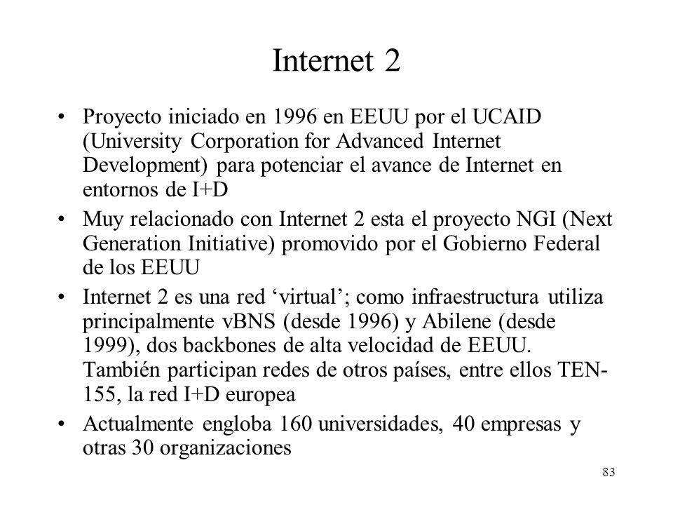 83 Internet 2 Proyecto iniciado en 1996 en EEUU por el UCAID (University Corporation for Advanced Internet Development) para potenciar el avance de Internet en entornos de I+D Muy relacionado con Internet 2 esta el proyecto NGI (Next Generation Initiative) promovido por el Gobierno Federal de los EEUU Internet 2 es una red virtual; como infraestructura utiliza principalmente vBNS (desde 1996) y Abilene (desde 1999), dos backbones de alta velocidad de EEUU.