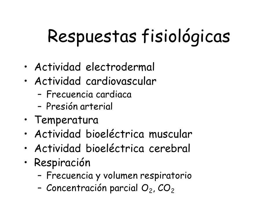 Respuestas fisiológicas Actividad electrodermal Actividad cardiovascular –Frecuencia cardiaca –Presión arterial Temperatura Actividad bioeléctrica mus