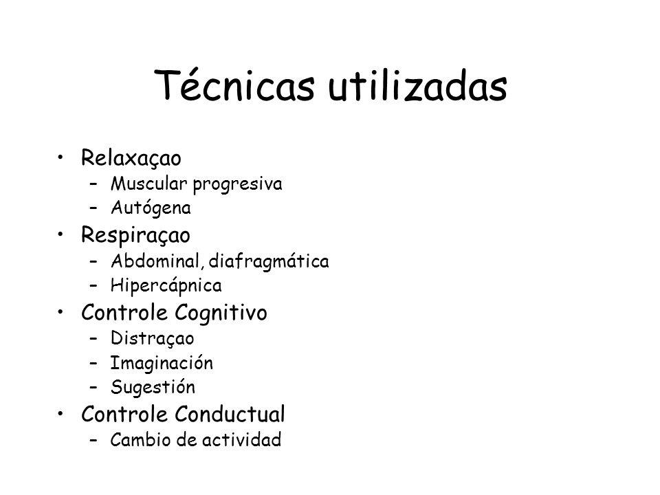 Técnicas utilizadas Relaxaçao –Muscular progresiva –Autógena Respiraçao –Abdominal, diafragmática –Hipercápnica Controle Cognitivo –Distraçao –Imagina