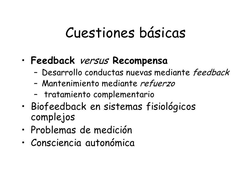Cuestiones básicas Feedback versus Recompensa –Desarrollo conductas nuevas mediante feedback –Mantenimiento mediante refuerzo – tratamiento complement