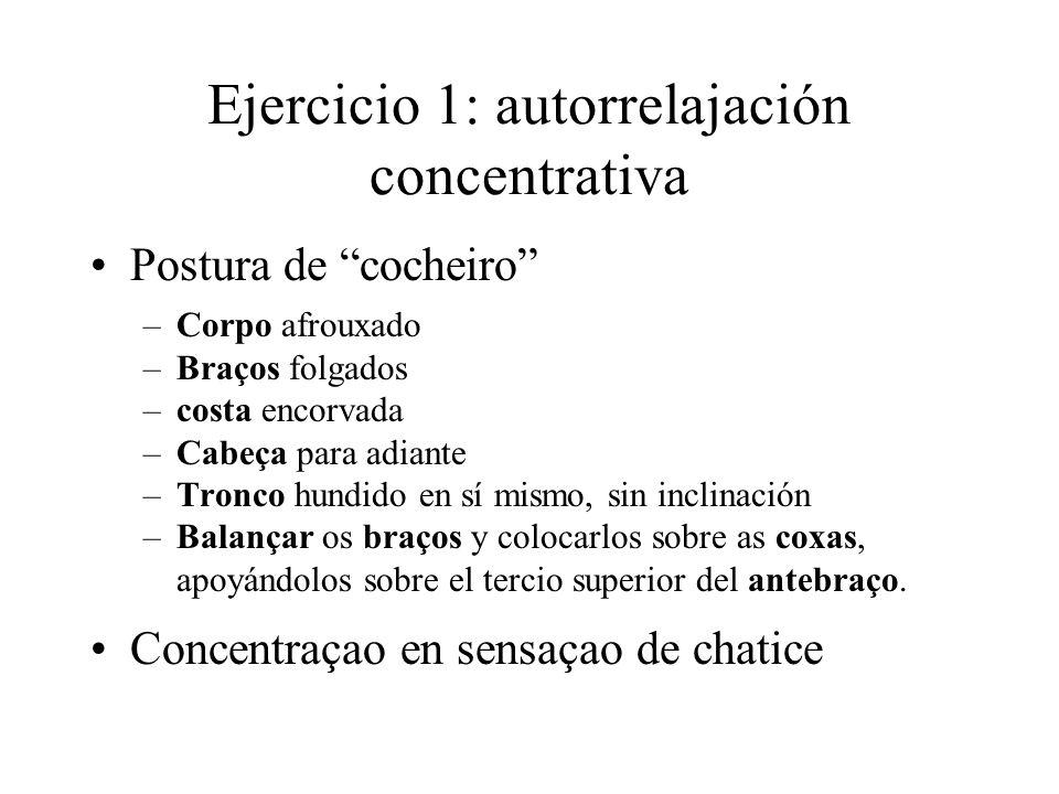 Ejercicio 1: autorrelajación concentrativa Postura de cocheiro –Corpo afrouxado –Braços folgados –costa encorvada –Cabeça para adiante –Tronco hundido