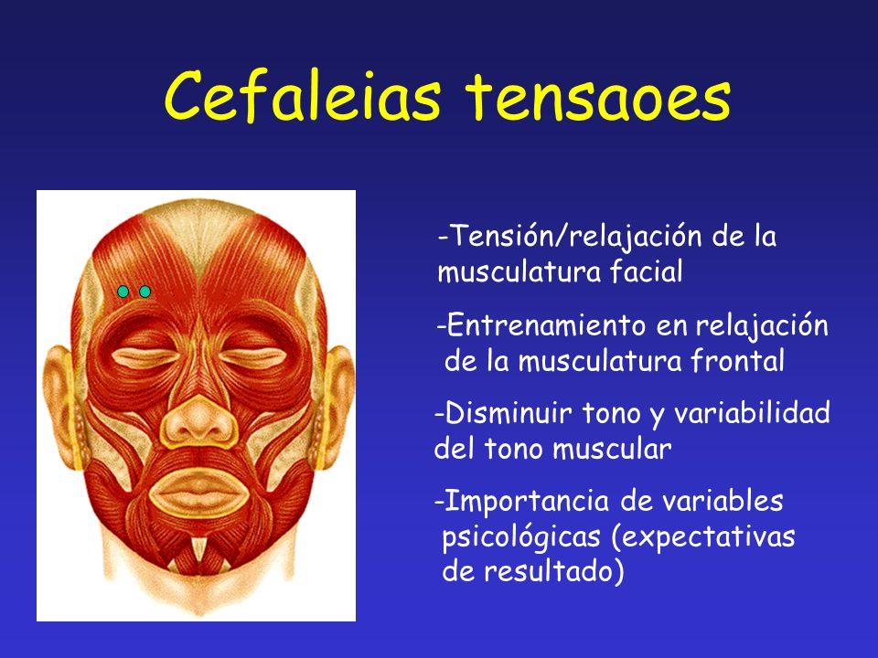 -Tensión/relajación de la musculatura facial -Entrenamiento en relajación de la musculatura frontal -Disminuir tono y variabilidad del tono muscular -