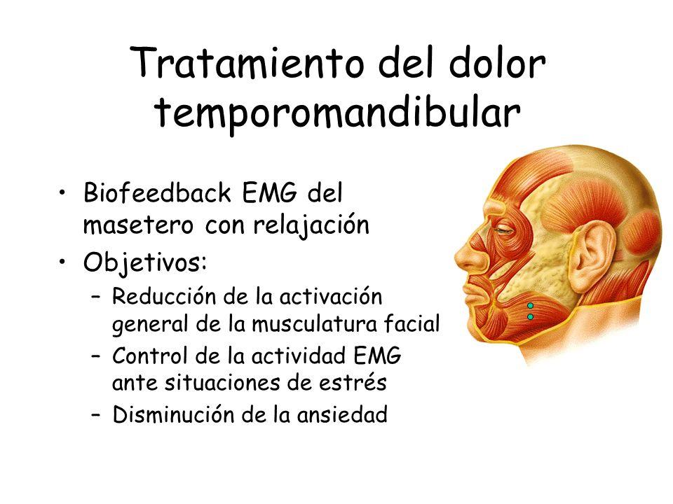 Tratamiento del dolor temporomandibular Biofeedback EMG del masetero con relajación Objetivos: –Reducción de la activación general de la musculatura f