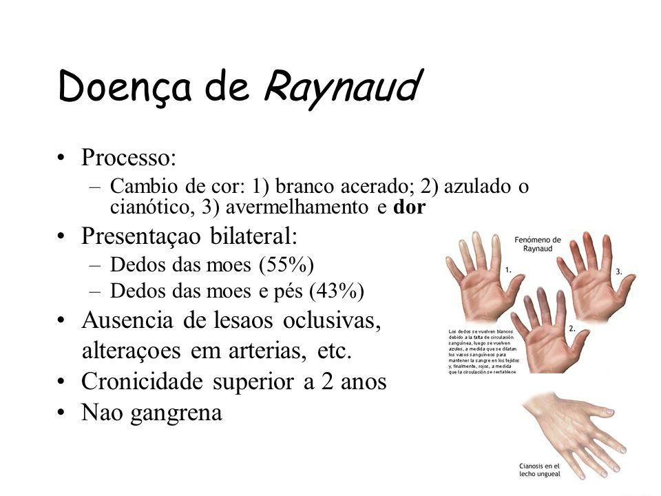 Processo: –Cambio de cor: 1) branco acerado; 2) azulado o cianótico, 3) avermelhamento e dor Presentaçao bilateral: –Dedos das moes (55%) –Dedos das m