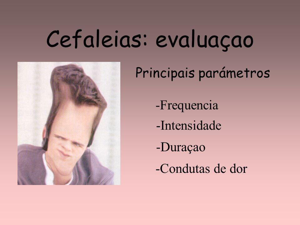 Cefaleias: evaluaçao -Frequencia -Intensidade -Duraçao Principais parámetros -Condutas de dor