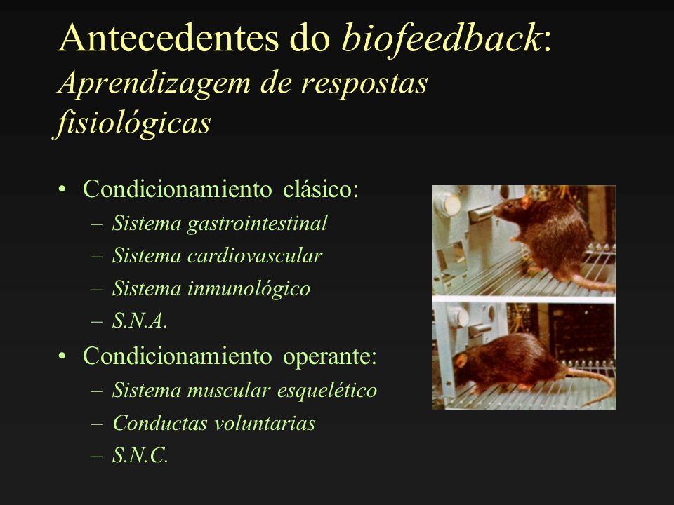 Antecedentes do biofeedback: Aprendizagem de respostas fisiológicas Condicionamiento clásico: –Sistema gastrointestinal –Sistema cardiovascular –Siste