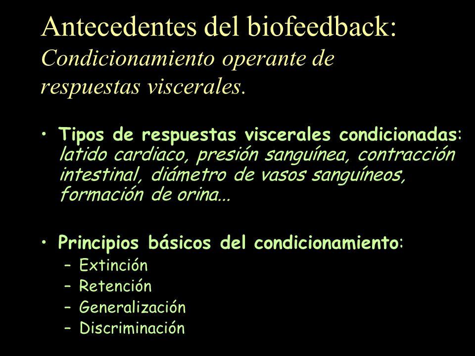 Antecedentes del biofeedback: Condicionamiento operante de respuestas viscerales. Tipos de respuestas viscerales condicionadas: latido cardiaco, presi