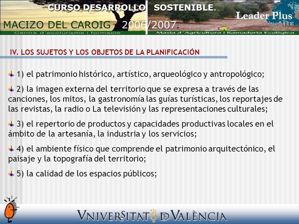 IV. LOS SUJETOS Y LOS OBJETOS DE LA PLANIFICACIÓN 1) el patrimonio histórico, artístico, arqueológico y antropológico; 2) la imagen externa del territ