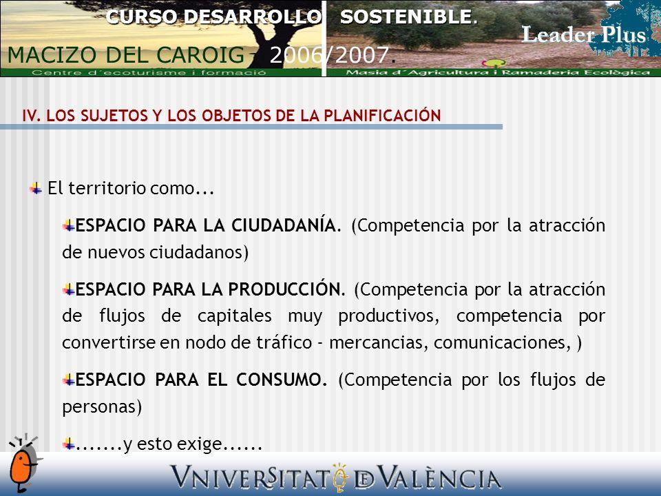 CURSO DESARROLLO SOSTENIBLE. MACIZO DEL CAROIG 2006/2007. El territorio como... ESPACIO PARA LA CIUDADANÍA. (Competencia por la atracción de nuevos ci