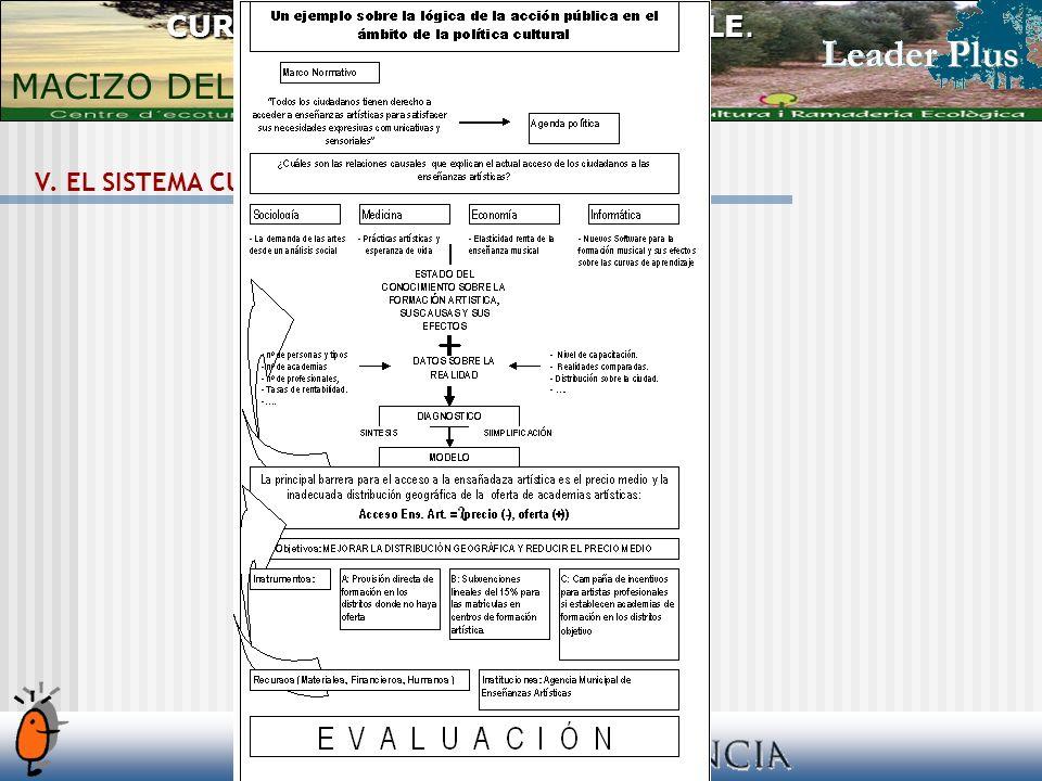 V. EL SISTEMA CULTURAL LOCAL. La política cultural CURSO DESARROLLO SOSTENIBLE. MACIZO DEL CAROIG 2006/2007.