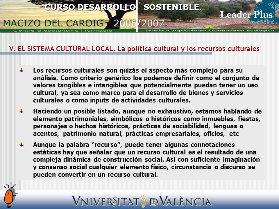 V. EL SISTEMA CULTURAL LOCAL.