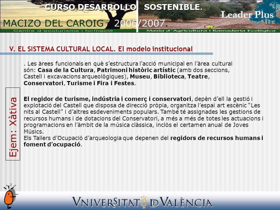 V. EL SISTEMA CULTURAL LOCAL. El modelo institucional CURSO DESARROLLO SOSTENIBLE.