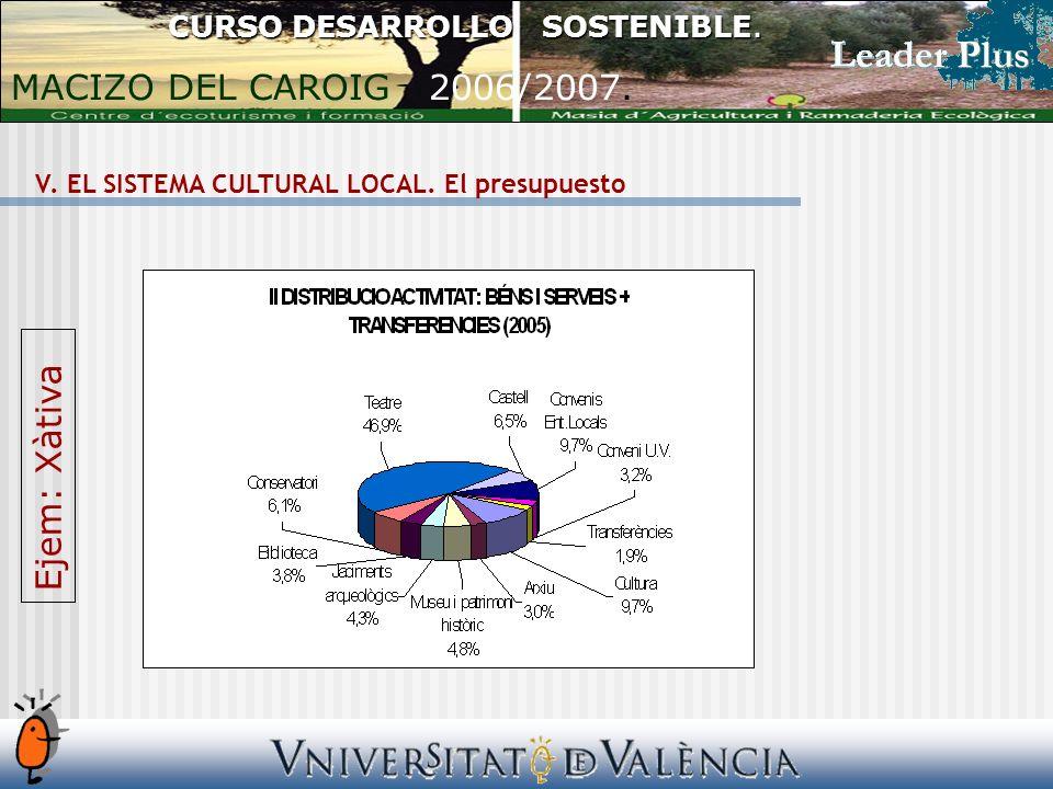 V. EL SISTEMA CULTURAL LOCAL. El presupuesto CURSO DESARROLLO SOSTENIBLE.