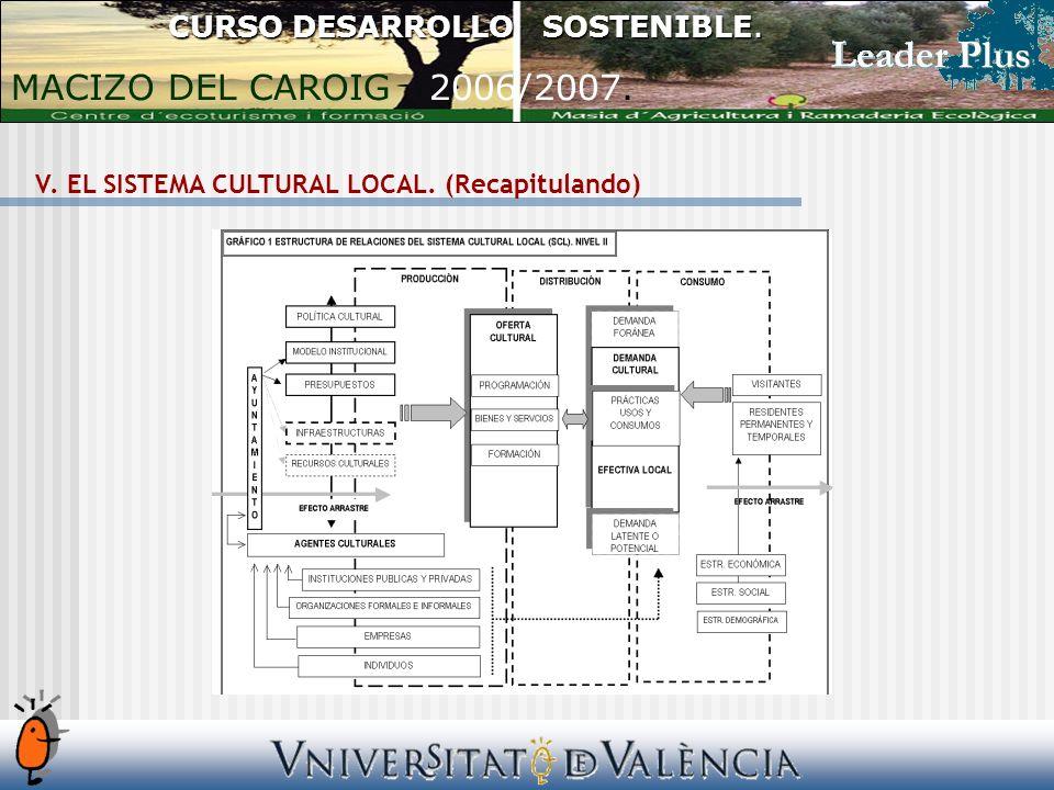 V. EL SISTEMA CULTURAL LOCAL. (Recapitulando) CURSO DESARROLLO SOSTENIBLE.