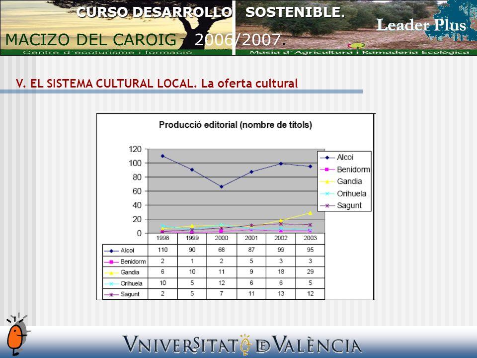 V. EL SISTEMA CULTURAL LOCAL. La oferta cultural CURSO DESARROLLO SOSTENIBLE. MACIZO DEL CAROIG 2006/2007.