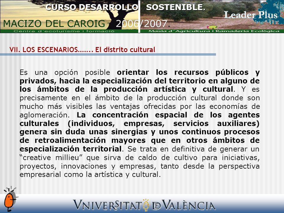 VII. LOS ESCENARIOS……..