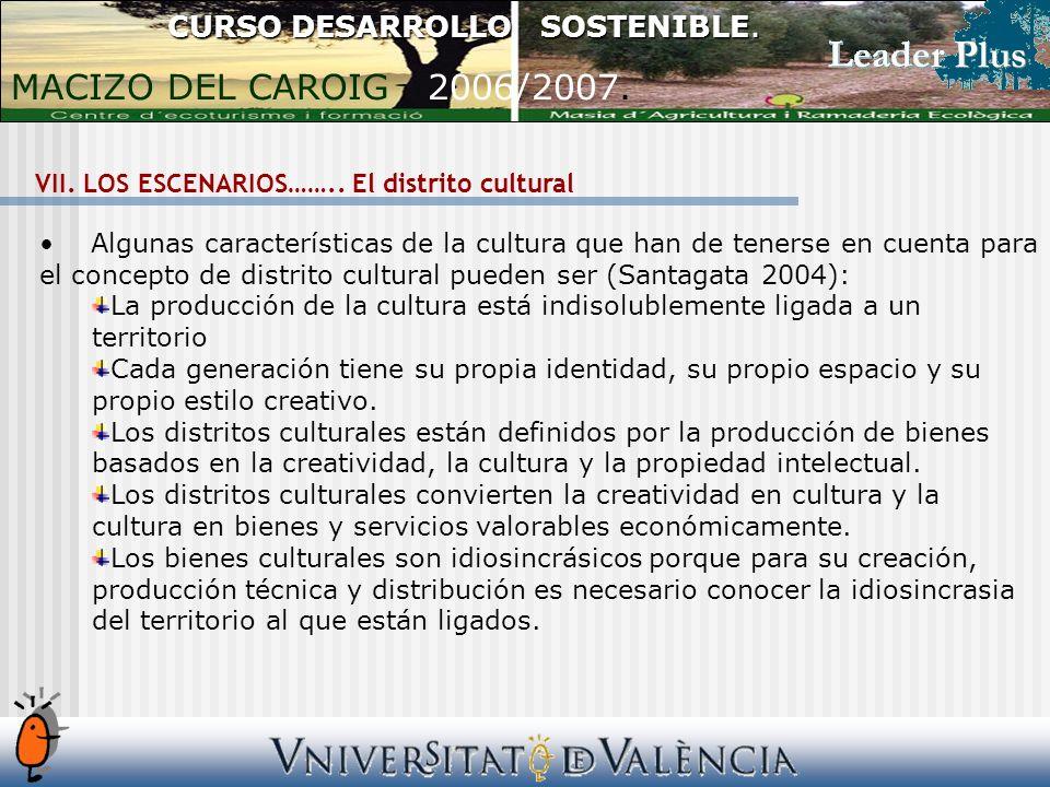 Algunas características de la cultura que han de tenerse en cuenta para el concepto de distrito cultural pueden ser (Santagata 2004): La producción de la cultura está indisolublemente ligada a un territorio Cada generación tiene su propia identidad, su propio espacio y su propio estilo creativo.
