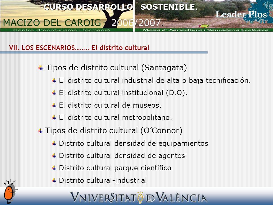 Tipos de distrito cultural (Santagata) El distrito cultural industrial de alta o baja tecnificación. El distrito cultural institucional (D.O). El dist