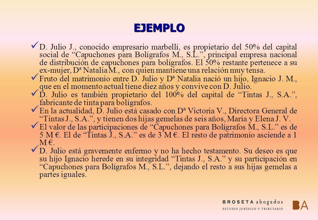 EJEMPLO D. Julio J., conocido empresario marbellí, es propietario del 50% del capital social de Capuchones para Bolígrafos M., S.L., principal empresa