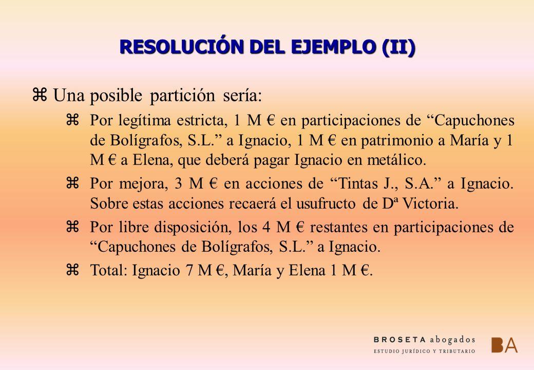 RESOLUCIÓN DEL EJEMPLO (II) z Una posible partición sería: zPor legítima estricta, 1 M en participaciones de Capuchones de Bolígrafos, S.L. a Ignacio,
