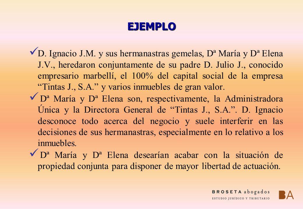 EJEMPLO D. Ignacio J.M. y sus hermanastras gemelas, Dª María y Dª Elena J.V., heredaron conjuntamente de su padre D. Julio J., conocido empresario mar