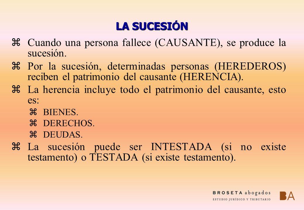 LA SUCESI Ó N zCuando una persona fallece (CAUSANTE), se produce la sucesión. zPor la sucesión, determinadas personas (HEREDEROS) reciben el patrimoni