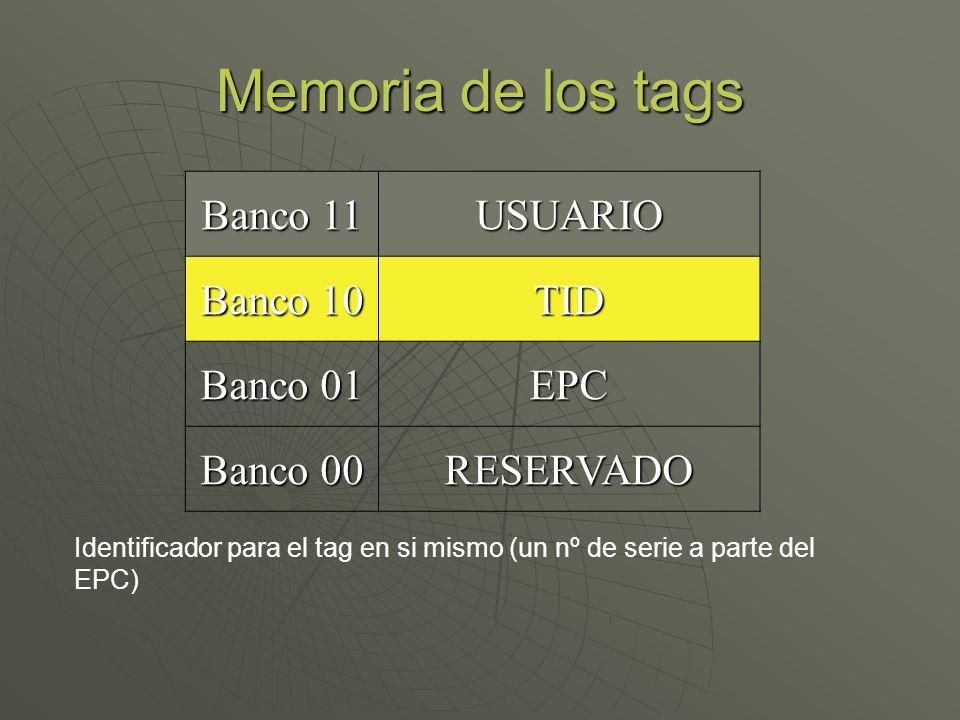 Memoria de los tags Banco 11 USUARIO Banco 10 TID Banco 01 EPC Banco 00 RESERVADO Identificador para el tag en si mismo (un nº de serie a parte del EP