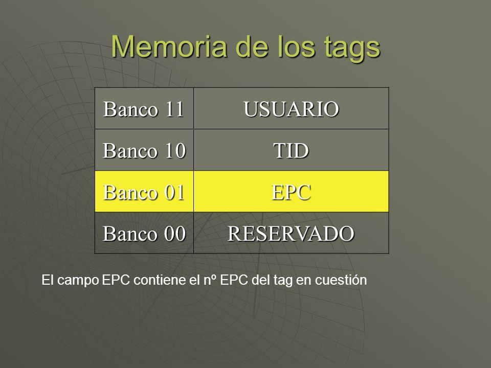 Memoria de los tags Banco 11 USUARIO Banco 10 TID Banco 01 EPC Banco 00 RESERVADO El campo EPC contiene el nº EPC del tag en cuestión