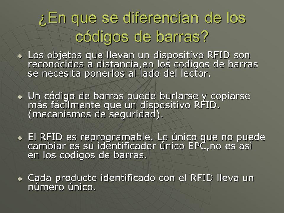 ¿En que se diferencian de los códigos de barras? Los objetos que llevan un dispositivo RFID son reconocidos a distancia,en los codigos de barras se ne