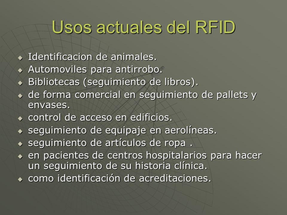 Usos actuales del RFID Identificacion de animales. Identificacion de animales. Automoviles para antirrobo. Automoviles para antirrobo. Bibliotecas (se