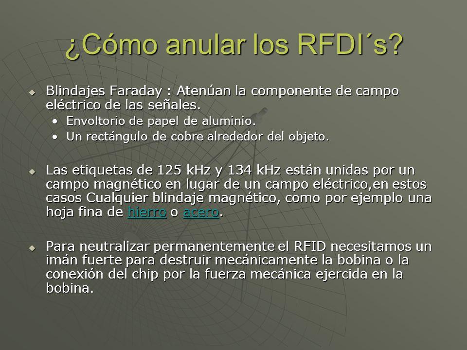 ¿Cómo anular los RFDI´s? Blindajes Faraday : Atenúan la componente de campo eléctrico de las señales. Blindajes Faraday : Atenúan la componente de cam