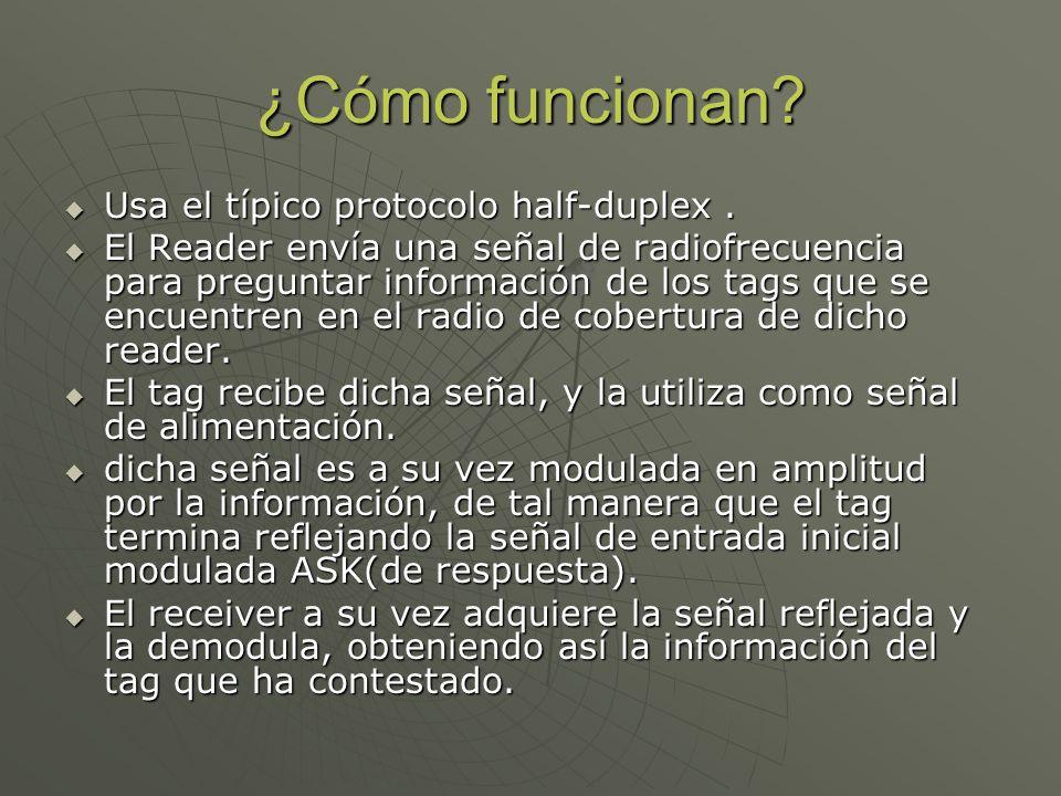 ¿Cómo funcionan? Usa el típico protocolo half-duplex. Usa el típico protocolo half-duplex. El Reader envía una señal de radiofrecuencia para preguntar