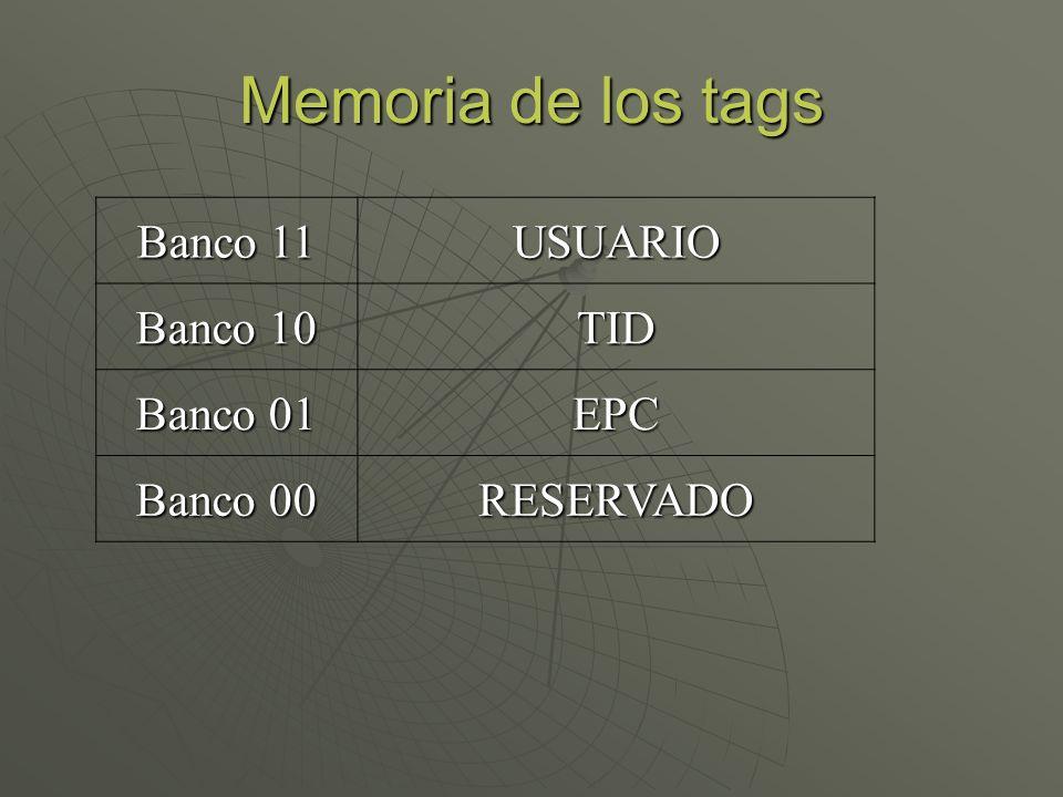 Memoria de los tags Banco 11 USUARIO Banco 10 TID Banco 01 EPC Banco 00 RESERVADO