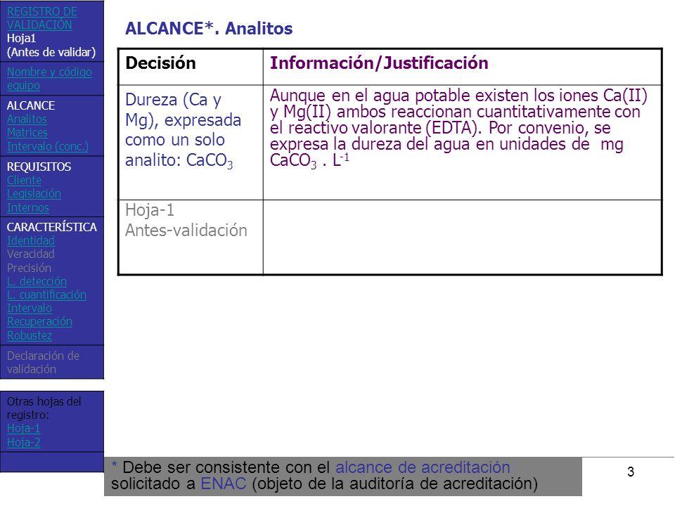 3 DecisiónInformación/Justificación Dureza (Ca y Mg), expresada como un solo analito: CaCO 3 Aunque en el agua potable existen los iones Ca(II) y Mg(I