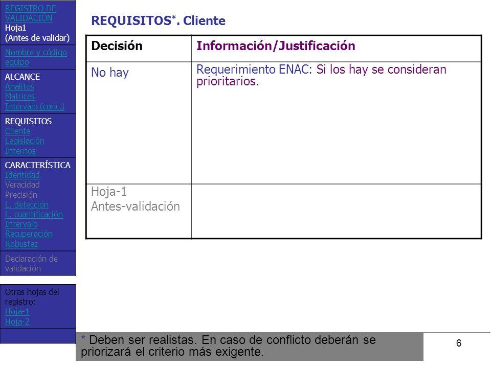 7 DecisiónInformación/Justificación No hay La legislación española vigente sobre aguas (RD 140/203), no especifica ningún nivel paramétrico para dureza (ni Ca(II) o Mg(II) individualmente), ni tampoco requisitos sobre veracidad o precisión, tal como hace para otros muchos analitos (ej.