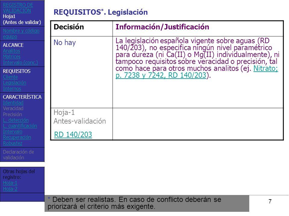 7 DecisiónInformación/Justificación No hay La legislación española vigente sobre aguas (RD 140/203), no especifica ningún nivel paramétrico para durez