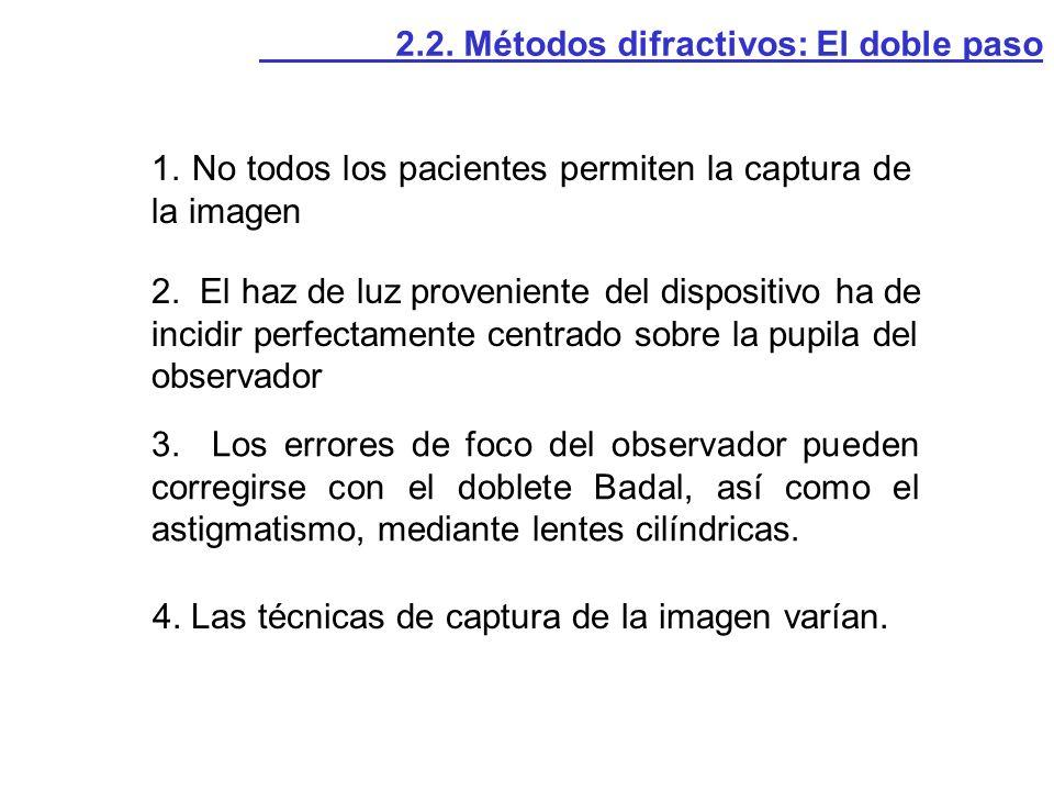 1. No todos los pacientes permiten la captura de la imagen 2. El haz de luz proveniente del dispositivo ha de incidir perfectamente centrado sobre la
