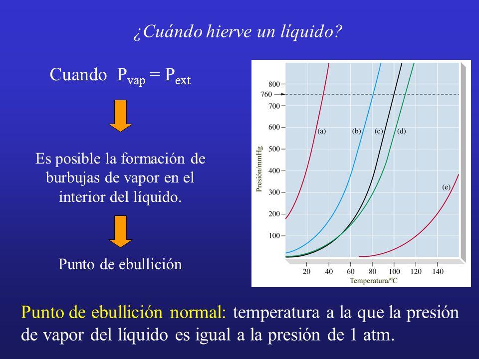 ¿Cuándo hierve un líquido? Punto de ebullición normal: temperatura a la que la presión de vapor del líquido es igual a la presión de 1 atm. Cuando P v