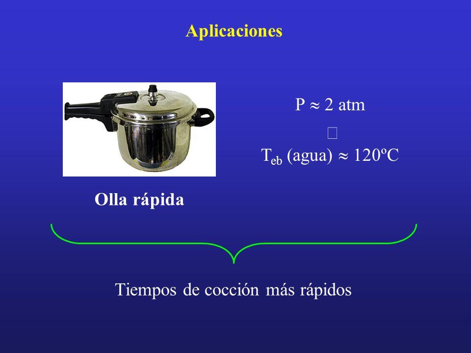 P 2 atm T eb (agua) 120ºC Aplicaciones Tiempos de cocción más rápidos Olla rápida