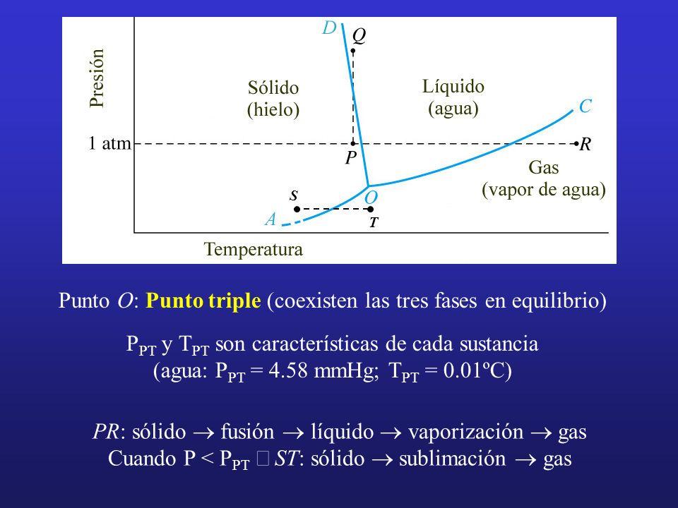 Punto O: Punto triple (coexisten las tres fases en equilibrio) P PT y T PT son características de cada sustancia (agua: P PT = 4.58 mmHg; T PT = 0.01º